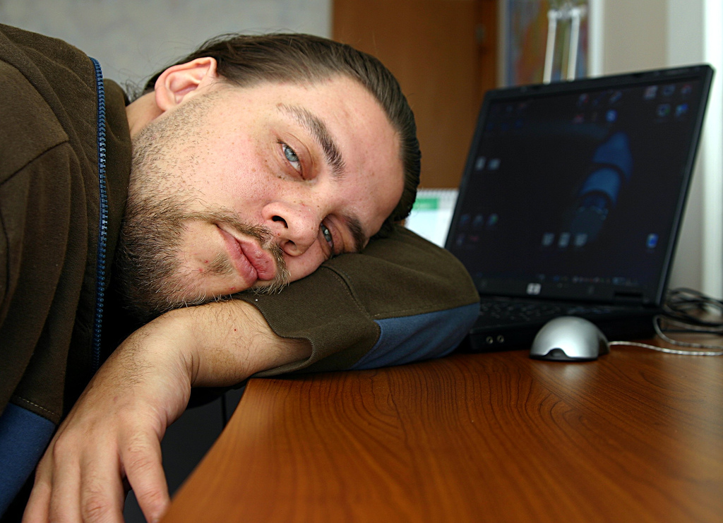 sick man at work